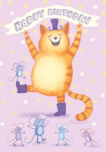 CHEERY CAT & MICE - GIRL BDAY